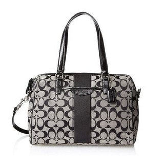 Coach 'Nancy' Black Signature Stripe Satchel