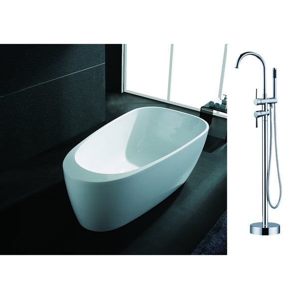 AKDY 67-inch OSF291+8723-AK Europe Style White Acrylic Free Standing Bathtub with Faucet