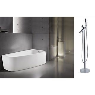 "AKDY 67"" Europe Style White Acrylic Free Standing Bathtub with Faucet"