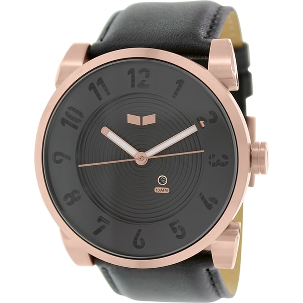 Vestal Men's Doppler DOP012 Black Leather Quartz Watch with Black Dial