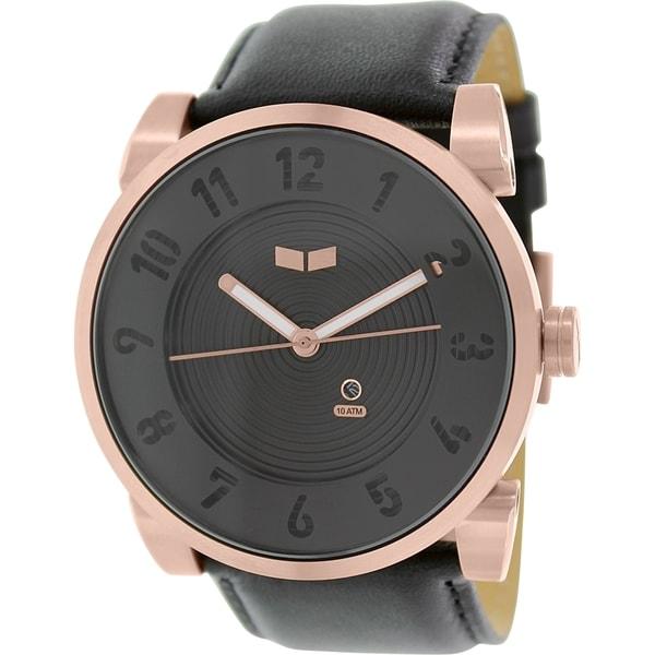 Vestal Men's Doppler DOP012 Black Leather Quartz Watch with Black Dial
