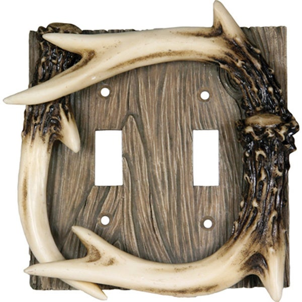 River's Edge Products Deer Antler Double Lightswitch Cover