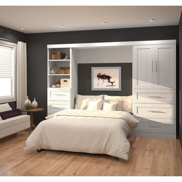 by bestar queen wall bed with two 25 storage units doors and drawers