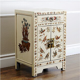 ABBYSON LIVING Antique Asian Butterfly Cream Side Table