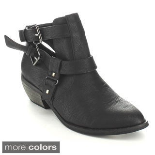 C-Label Women's 'Jack-5A' Buckle Strap Cut-out Ankle Booties