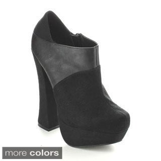 C-Label Women's 'Anita-3' Two-texture Ankle Booties