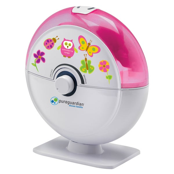 PureGuardian H1010P 14-Hour Ultrasonic Cool Mist Humidifier, Table Top, Pink with Kids Decals 1932857