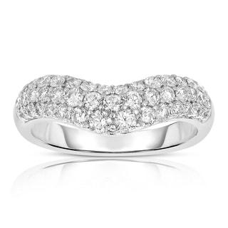 Eloquence 14k White Gold 1ct TDW Curved Diamond Band (H-I, I1-I2)