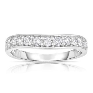 Eloquence 14k White Gold 1/2ct TDW Curved Diamond Band (H-I, I1-I2)