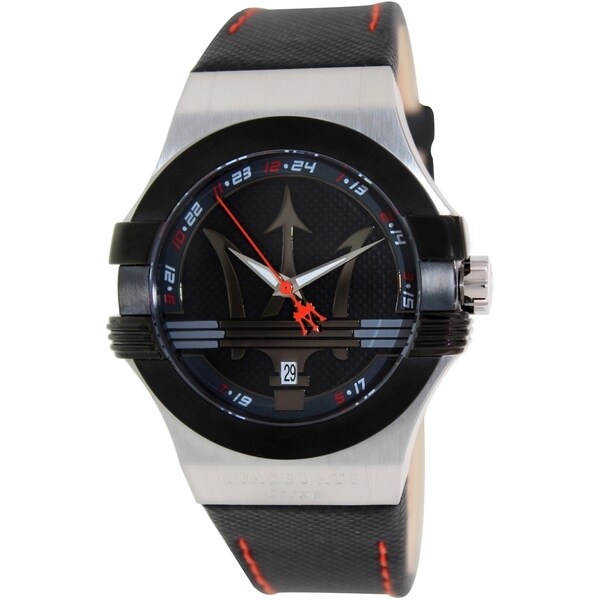 Maserati Men's Potenza R8851108001 Black Leather Analog quartz Watch with Black Dial