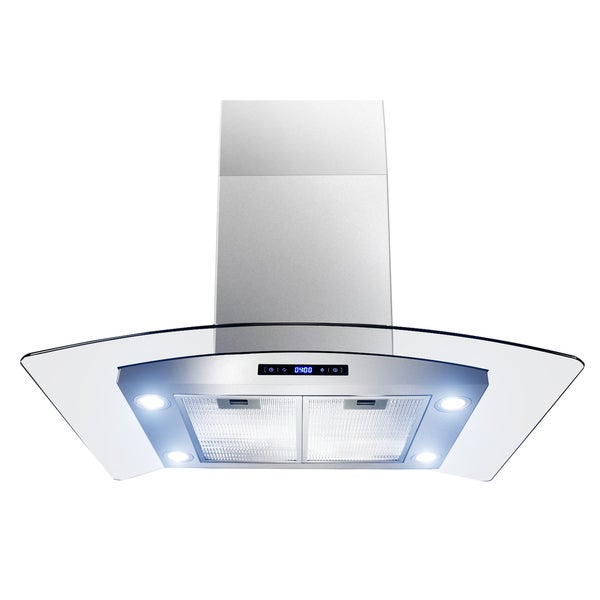 Golden Vantage 30-inch OSIRHAIS2-30-GV Curved Glass Stainless Steel Island Mount Range Hood 14338322