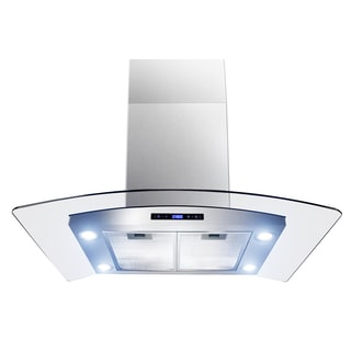 Golden Vantage 36-inch OSIRHAIS2-36-GV Curved Glass Stainless Steel Island Mount Range Hood