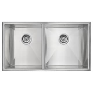 Golden Vantage Stainless Steel 32-Inch Double Bowl Undermount Kitchen Sink