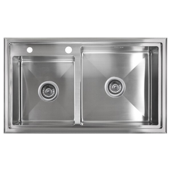 Golden Vantage Stainless Steel 33-inch Double Bowl Topmount Kitchen Sink 14338334