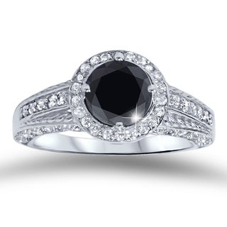 14k White Gold 1 1/4ct TDW Black and White Diamond Engagement Ring (H-I, I2-I3)
