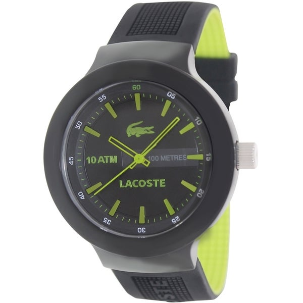 Lacoste Men's Borneo 2010656 Black Polyurethane Analog quartz Watch with Black Dial