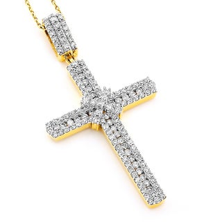Luxurman 14k Gold 1 1/2ct TDW Diamond Cross Pendant (H-I, SI2-SI3)