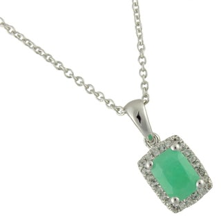 Sterling Silver 1 1/10ct TGW Sakota Emerald and White Topaz Pendant Necklace