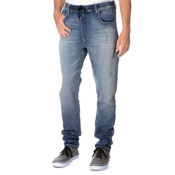 Seven7 Men's Knit Denim Drawstring Waist Jogger Jean