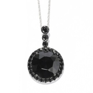 Sterling Silver Black Spinel Oval Pendant Necklace