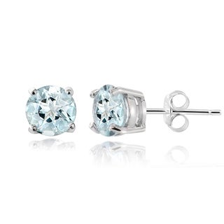 Glitzy Rocks 14k White Gold 1ct TGW Aquamarine 5mm Stud Earrings