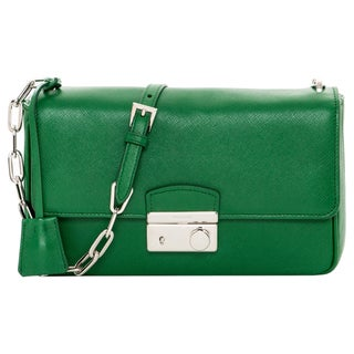 Prada Green Saffiano Leather Flap Bag