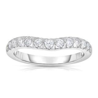 Eloquence 14k White Gold 1/2ct TDW Curved Diamond Wedding Band (H-I, I1-I2)