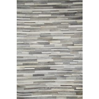 Hair On Hide Grey Striped Area Rug (5' x 8')