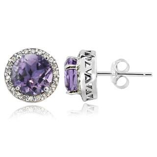 Glitzy Rocks Sterling Silver 1 1/2ct TGW Amethyst And 1/5ct TDW Diamond Stud Earrings (G-H, I2-I3)