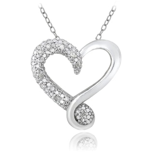 DB Designs Sterling Silver 1/8ct TDW Diamond Heart Necklace (I-J, I2-I3)