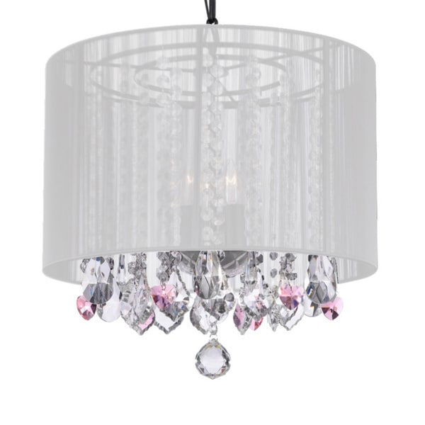 3-light White Shade and Pink Crystal Hearts Chandelier