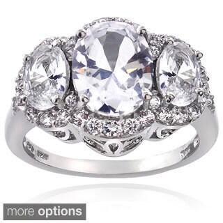 Glitzy Rocks Sterling Silver Created Sapphire 3-stone Ring