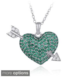 Glitzy Rocks Sterling Silver Created Gemstone Heart And Arrow Necklace