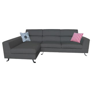 Kileen Dark Grey Right Facing Chaise Linen Sectional Sofa