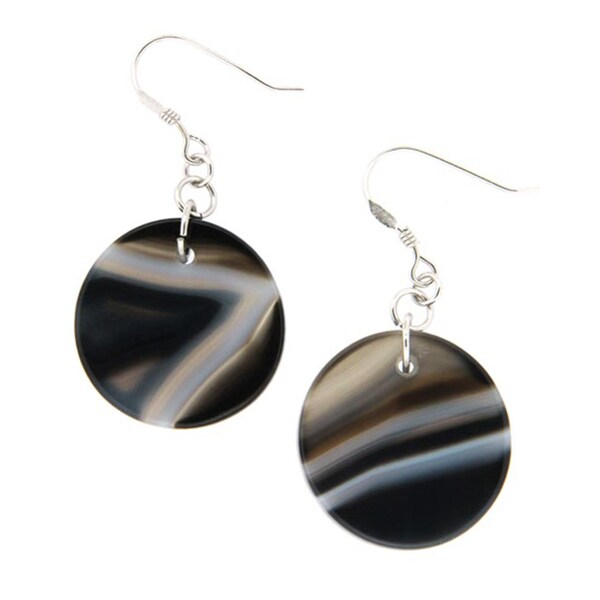 Pearlz Ocean Black Banded Agate Earrings