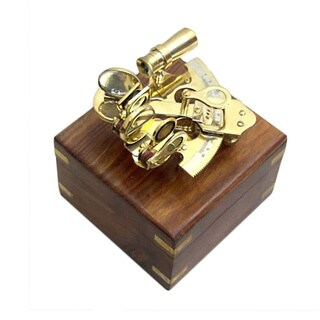 Sextant Nautical Brass 4 inch Wooden Box