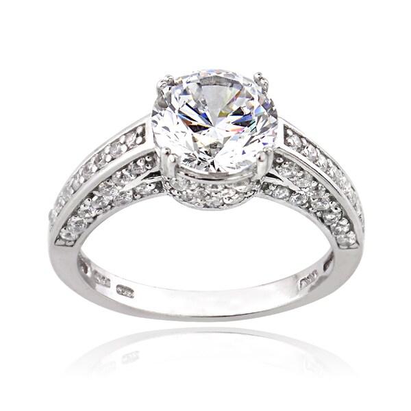 Icz Stonez Silver 4 1/2ct TGW Cubic Zirconia Ring