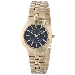 Anne Klein Women's AK-1494NVGB Classic Round Goldtone Alloy Bracelet Watch