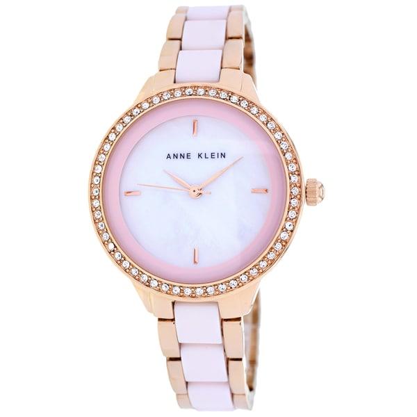 Anne Klein Women's AK-1418RGLP Classic Round Two-tone Ceramic Bracelet Watch