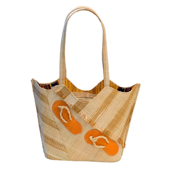 Linda Handmade Eco-friendly Raffia Beach Tote Bag (Cameroon)