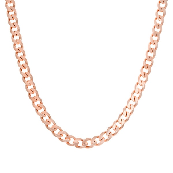 Sterling Essentials Rose Goldplated Sterling Silver Curb Chain (8 mm)