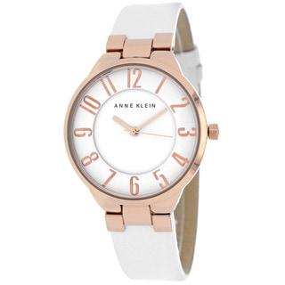 Anne Klein Women's AK-1618RGWT Classic Round White Strap Watch
