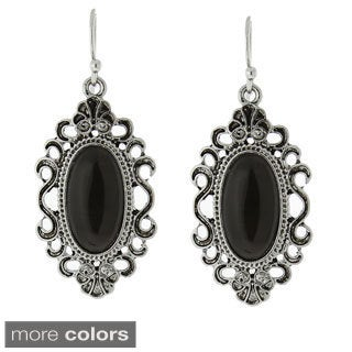 1928 Silver-tone Simulated Cat Eye Oval Filigree Drop Earrings