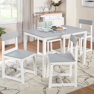 Simple Living Aria 5-piece Light Grey and White Dining Set