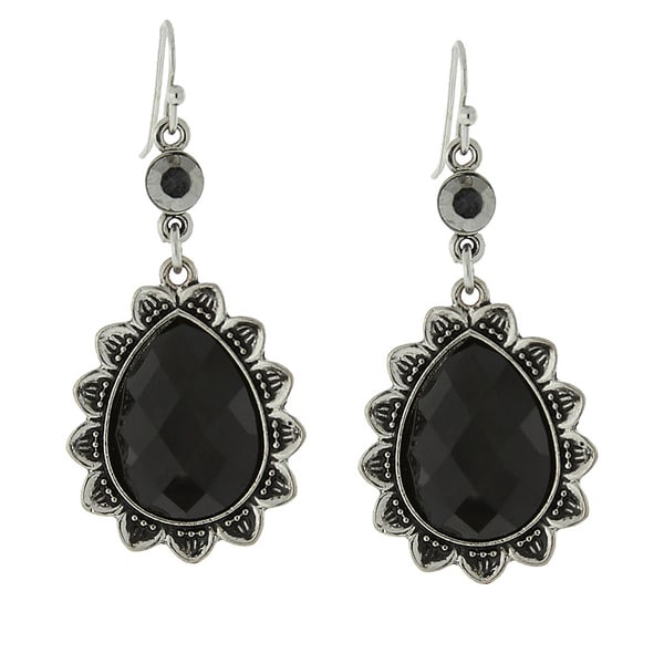 1928 Black Faceted Teardrop Earrings