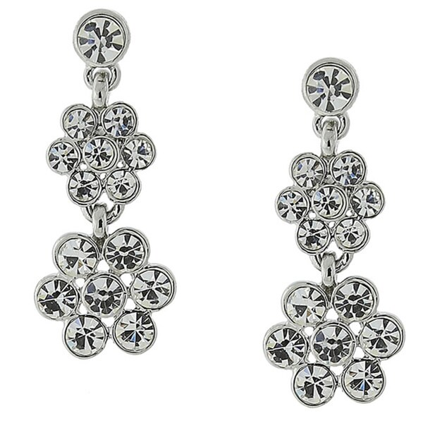 1928 Crystal Flower Drop Earrings