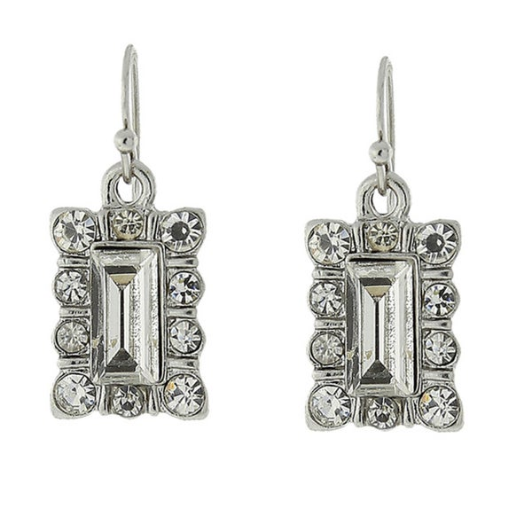 1928 Crystal Square Drop Earrings
