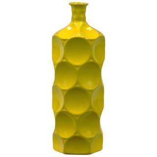 Small Yellow Decorative Ceramic Bottle