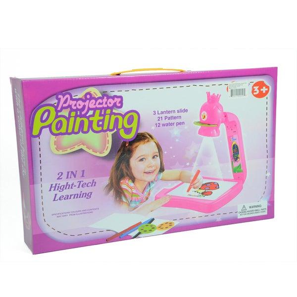 2 in 1 Pink Girls Flower Drawing Projector Art Set