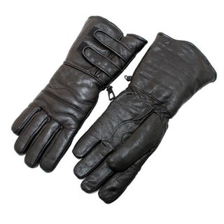 Black Leather Winter Motorcylce Riding Gloves